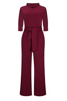 33801cac97 JireH Women s Half Sleeve High Waist Wide-Leg Pants Jumpsuits Romper With  Belt