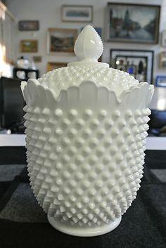"SUPERB VINTAGE Fenton White Milk Glass HOBNAIL 11"" COOKIE JAR w/Lid EXCELLENT"