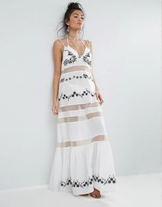 Perfect embroidered dress for a beach wedding.