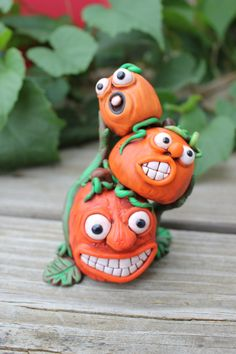 Pumpkin Stack Polymer Clay Sculpture by mirandascritters on Etsy, $20.00