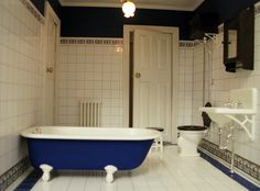 Good pattern for bathroom floor - white in the centre, blue around the edging | dollhouse tiling | MitchyMooMiniatures