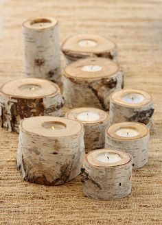 Birch tealight candle holders.