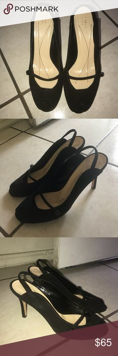 Black suede Kate Spade peep toe heel Beautiful black suede Kate Spade Pumps. Beautiful stone button on both sides. No stones missing. Soles show normal wear from usage. kate spade Shoes Heels