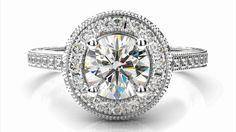 Zlatý zásnubný prsteň ALLIZA biele zlato 14 karátové briliant okrúhly halo
