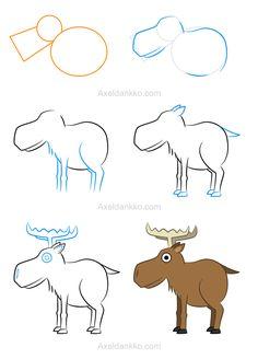 How to draw a moose - Comment dessiner un caribou