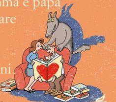 """Illustrazione di Bruno Heitz, """"Come insegnare a mamma e papà ad amare i libri per bambini"""", Nuove Edizioni Romane"""