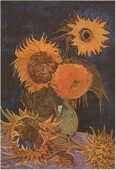 Still Life: Vase with Five Sunflowers by Vincent Van Gogh - 583