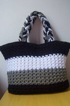 Handmade crochet bag from rope will be the best accessory or a gift for you or your friend! Perfect for using everyday. This stylish handbag just begs to be with you on holiday. Size: height 26 cm in], width 32 cm in] The length of the handle 27 Crochet Doily Rug, Free Crochet Bag, Crochet Diy, Crochet Tote, Crochet Shoes, Crochet Handbags, Crochet Purses, Knitting Patterns, Crochet Patterns