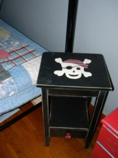 "Pirate Skull table Nightstand painted black and sanded with a skull. Sanded to look Pottery Barn ""ish"""