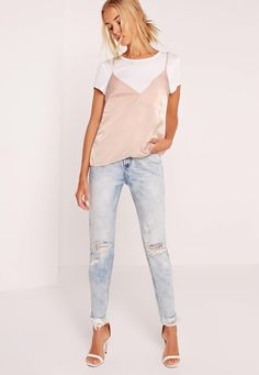 It's all about layering this season, so add this cute 'lil overlay to your closet. In a luxe champayne nude hue, sweet satin feel, non-adjustable cami straps and a floaty feel, team with light denim jeans and barely there heels for a fresh ...