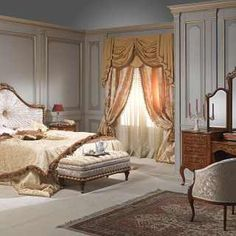Luxury classic bedroom Louvre collection: bed in walnut wood, carvings, night tables and toilette with mirror in walnut Classic Furniture, Luxury Furniture, Home Bedroom, Master Bedroom, Luxurious Bedrooms, Luxury Bedrooms, Night Table, Walnut Wood, Luxury Bedding