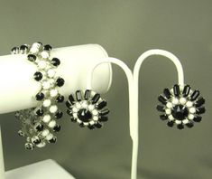 Hattie Carnegie Black and White Bead Bracelet and by judysgems2, $299.99