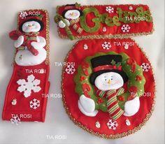 fieltro navideño para baño - Buscar con Google Unique Christmas Decorations, Christmas Ornaments To Make, Christmas Sewing, Christmas Items, Christmas Angels, Christmas Projects, Christmas Holidays, Christmas 2019, Snowman Crafts