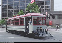 #1 was built in 1912 in San Francisco by W. L. Holman for $7,700, part of MUNI's first order of ten streetcars. Photo taken during a Historic Trolley Car Parade in April 1992.