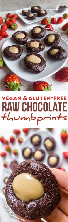 Raw Chocolate Cashew Thumbprints via @nestandglow