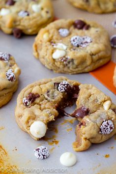 Triple Chocolate Chip Cookies Recipe ~ Semi-sweet chocolate chips, white chocolate chips, and SNO-CAPS