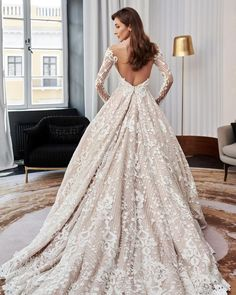 33 Lace Wedding Dresses That You Will Absolutely Love ❤ lace wedding dresses low back with long sleeves ball gown pollardi #weddingforward #wedding #bride