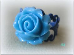 Blue Rose on Dark Blue Filigree Ring  by FiveEtsyJewelry on Etsy, $7.00