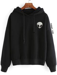 Black Alien Print Hooded Sweatshirt
