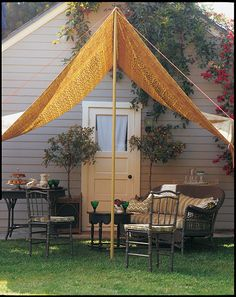 A Slice of Shade Creating Canopies & outdoor canopy diy ( why not dye canvas drop cloths for the fabric ...