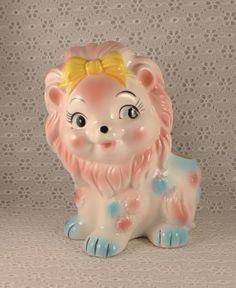 Vintage Lion Planter, Relpo,  Nursery, Pink, Blue,  Ceramic, Baby, Nursery Decor