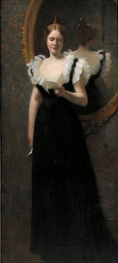"""Young Woman Reading a Letter,"" William Worcester Churchill, oil on canvas, 54 5/8 x 25"", private collection."