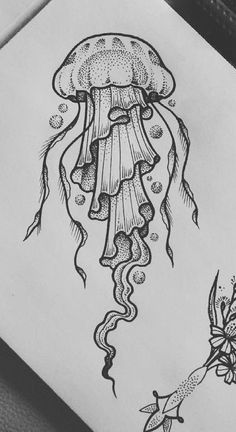 Dark Art Drawings, Pencil Art Drawings, Art Drawings Sketches, Easy Drawings, Tattoo Drawings, Jellyfish Drawing, Jellyfish Painting, Jellyfish Facts, Jellyfish Aquarium
