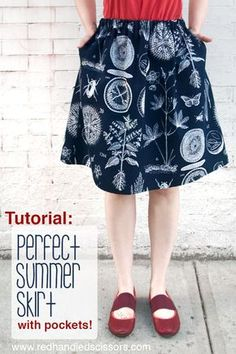 Tutorial: Perfect Summer Skirt (with Pockets! Sew a custom summer skirt of your very own with this beginner-friendly elastic-waist skirt sewing tutorial! skirt Tutorial: Perfect Summer Skirt with Pockets! Sewing Clothes Women, Diy Clothing, Skirt Patterns Sewing, Skirt Sewing, Sewing Coat, Coat Patterns, Blouse Patterns, Pattern Sewing, Free Pattern