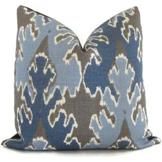 Kelly Wearstler Indigo Blue Ikat Pillow Cover Square, Euro or Lumbar Pillow, Lee Jofa Bengal Bazaar, Throw Pillow, Accent Pillow