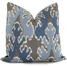 Kelly Wearstler Indigo Blue Ikat Pillow Cover Square, Euro or Lumbar Pillow, Lee Jofa Bengal Bazaar, Throw Pillow, Accent Pillow