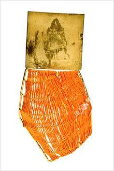 Raissa Bump  Brooch    18k gold, silk thread, rose quartz, aquamarine  11cm x 5cm x 2.5cm
