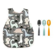 """This fun """"Three Spoon Circus"""" bundle, which comes with THREE Gootensils plus a Bapron to create the perfect tools for a little mealtime circus of your own. Mealtime was made to be fun! #blw #startingsolids #babyfood #firstfood #babyspoon #numnum #gootensil Dino Drawing, St Food, Food Texture, Starting Solids, Hybrid Design, Young Baby, Baby Led Weaning, Kits For Kids, Just A Little"""