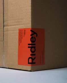 Logotype and packaging sticker designed by RE: for digital architecture and documentation service Ridley