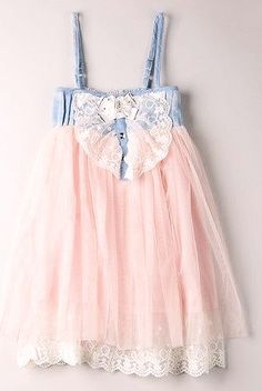 Baby Doll Denim Pink Tulle Dress by Mia Belle Baby on HauteLook Little Girl Fashion, Little Girl Dresses, Kids Fashion, Girls Dresses, Flower Girl Dresses, Flower Girls, Baby Outfits, Cute Outfits For Kids, Toddler Outfits