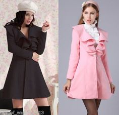 Fashion Women Warm Wool Ruffle Lapel Slim Fit Trench Long Coat Jacket M L XL XXL | eBay