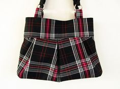 Black white and pink purse plaid purse pleated purse by HULINbags