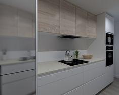 Modelo Line Blanco Y Roble Barrica Encimera Neolith Basalt Beige Custom Kitchens, Home Kitchens, Kitchen Design, Kitchen Ideas, New Homes, Decoration, Home Decor, Small Kitchens, Modern Kitchens