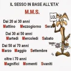 Dai 20 ai 30 anni: Mattino Mezzogiorno Sera - Dai 30 ai 50 anni: Martedì Mercoledì Sabato...