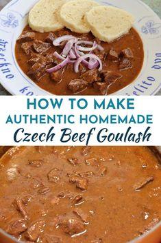 Beef Goulash, Goulash Recipes, Meat Recipes, Cooking Recipes, Slovak Recipes, Czech Recipes, Czech Goulash, Eastern European Recipes, International Recipes