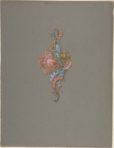 Design for a Pendant Eugène-Samuel Grasset (French, born Switzerland, Lausanne 1841–1917 Paris) Medium: Gouache on dark grey paper Dimensions: 12 13/16 x 9 13/16 in. (32.6 x 24.9 cm) Classifications: Drawings, Ornament & Architecture Credit Line: The Elisha Whittelsey Collection, The Elisha Whittelsey Fund, 1953 Accession Number: 53.670.7Design for a Pendant