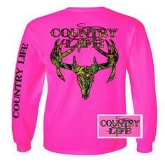 Our most popular Long Sleeve women's shrit is the Pink Long Sleeve Camo. It is printed front chest, back and left sleeve. Perfect for chilly nights from www.countrylifeoutfitters.com