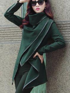 Stylish Turtle Neck Long Sleeve Asymmetrical Women's Coat Coats | RoseGal.com Mobile
