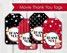 Red and Black Movie Night Thank You Tags. Each tag measures 2 x 3.5.  Here is what to do:  1. Add Thank You Tags to Cart and purchase  2.