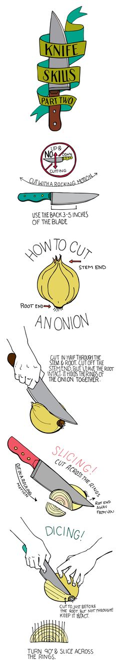 Knife Skills, Part 2, how to cut an onion #infographic #infografia #cocina