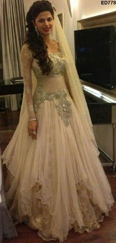 03df6903b4dc81eac5c1f2dc8d3a2f7e  indian wedding gowns indian bridal wear - East Meets West Fusion Bridal Gown By Kamaali South Asian Bridal Gown