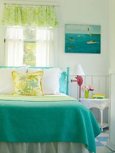 Jane Coslick Cottages August 12 lovve the colors.using a bedskirt to make a valance Beach Cottage Style, Beach Cottage Decor, Coastal Cottage, Coastal Living, Coastal Decor, Coastal Colors, Cottage Chic, Cottages By The Sea, Beach Cottages