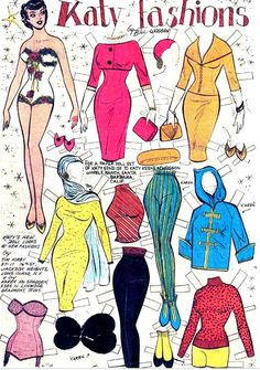 Katy would be pretty in the pink dress * 1500 free paper dolls The International Paper Doll Society @QuanYin5 #QuanYin5 Arielle Gabriel artist *