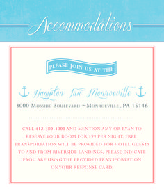 Nautical Wedding Invitations - Accommodations card. Pocket Folder/Layered Style. Blue and Coral. Designed by info@gkprints.com