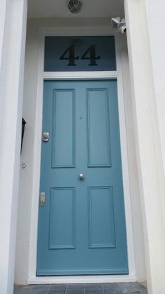 Chancellor's ROAD, Hammersmith|BESPOKE 4 PANEL |HARDWOOD |SATIN CHROME |FARROW AND BALL - ST GILES BLUE (EGGSHELL)|FROSTED FANLIGHT WITH CLEAR ETCHED NUMBER|NEW FRONT DOOR AND FRAME |V