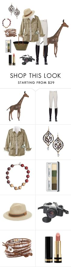 """""""African Queen Safari"""" by beth-hayward-fillioe on Polyvore featuring Miasuki, TravelSmith, Lisa August, Yves Saint Laurent, Clinique, Bailey, Pentax, Chan Luu and Gucci"""